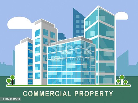 Commercial Real Estate City Block Represents Property Leasing Or Realestate Investment. Includes Offices And Land Leasing - 3d Illustration
