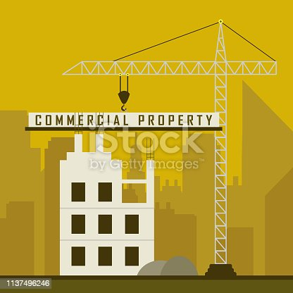 Commercial Real Estate Construction Represents Property Leasing Or Realestate Investment. Includes Offices And Land Leasing - 3d Illustration