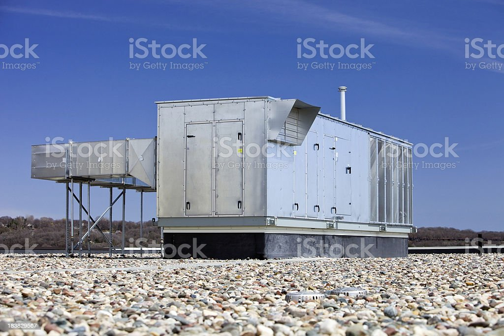 Commercial Rooftop HVAC Energy Wheel System stock photo