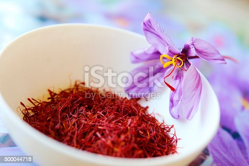 Commercial saffron comes from the bright red stigmas of the saffron crocus (Crocus sativus) which flowers in the Fall in many different countries, including Greece, India, Iran, Afghanistan and Spain.