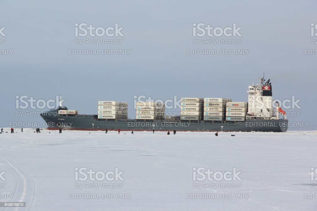 Commercial Ship Calisto Is Loaded With Containers Maersk