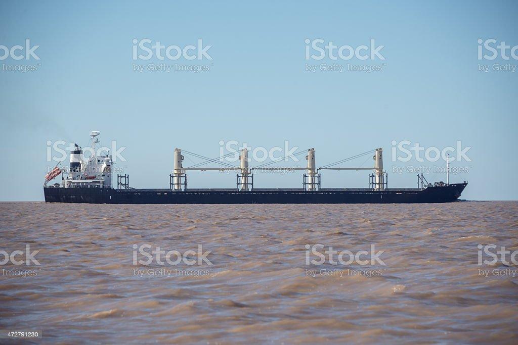 Commercial Ship sailing through Rio de la plata, Buenos Aires stock photo