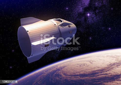 Commercial Spacecraft Over Planet Earth And A Big Hurricane. 3D Illustration. NASA Images NOT USED.