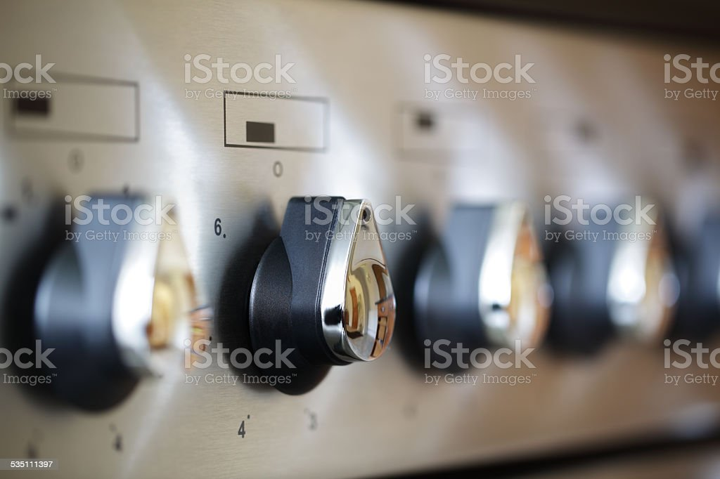 Commercial stove controls stock photo