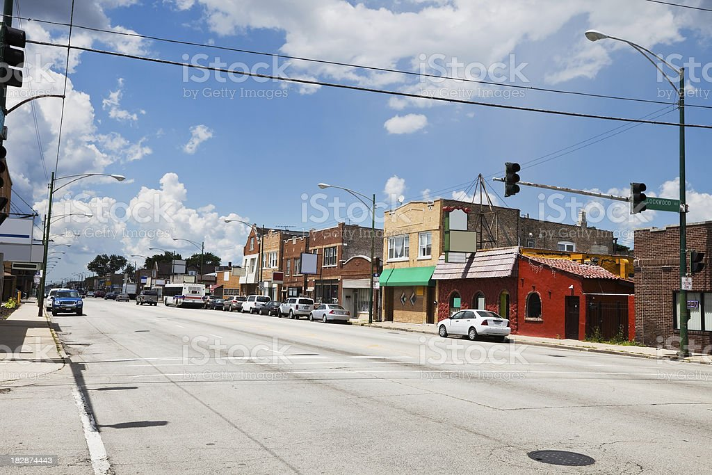 Commercial Street in a Chicago Southwest Side Neighborhood royalty-free stock photo