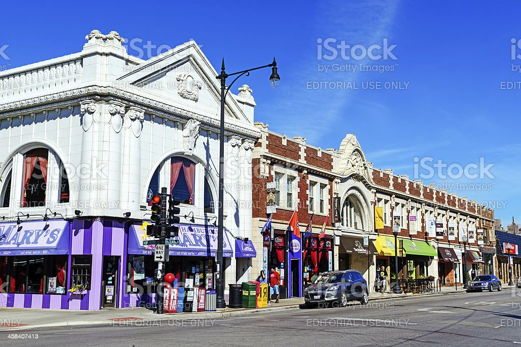 Commercial street in Andersonville, Chicago stock photo