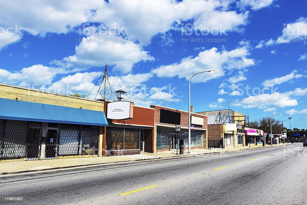 Commercial Street in Avalon Park, Chicago royalty-free stock photo