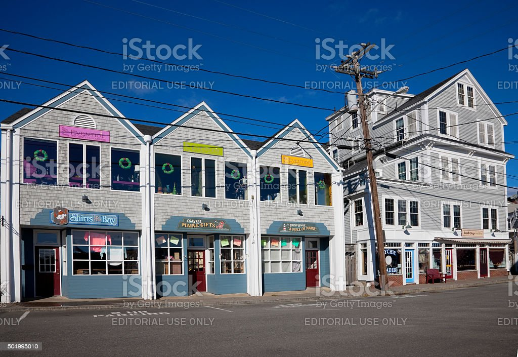 Commercial Street in Boothbay Harbor, Maine stock photo