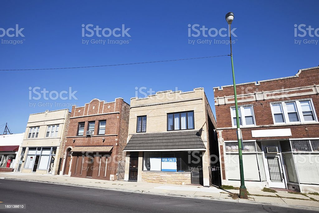 Commercial Street in Dunning, Chicago royalty-free stock photo