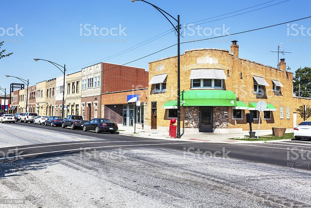 Commercial street in Mount Greenwood, Chicago royalty-free stock photo