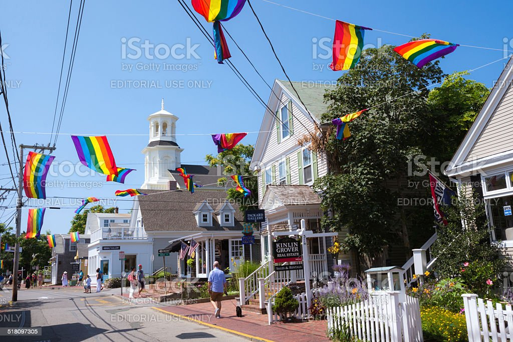 Commercial Street in Provincetown, MA stock photo