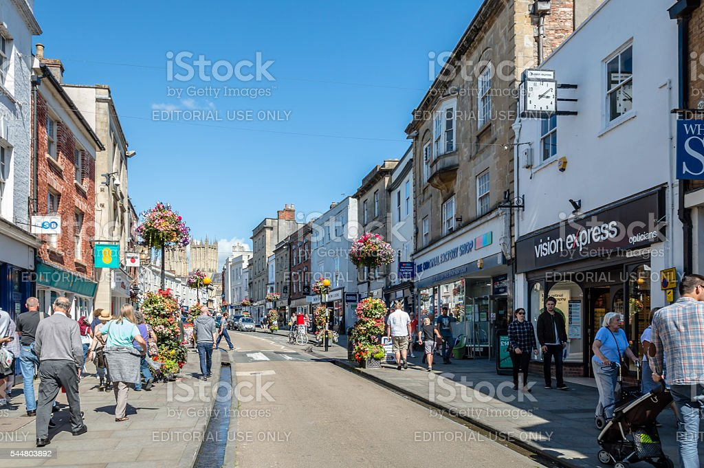 Commercial street in Wells stock photo