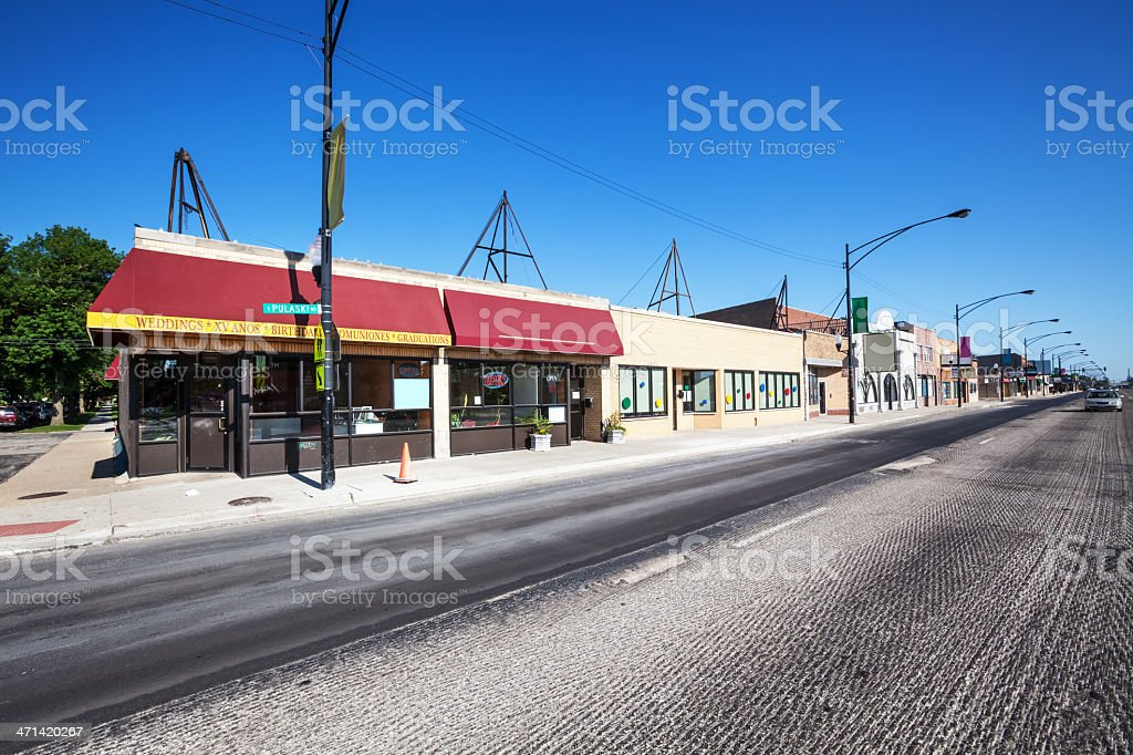 Commercial Street in West Elsdon, Chicago royalty-free stock photo