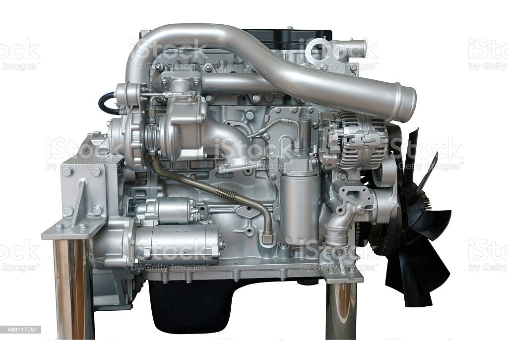 Commercial Vehicle engine isolated on white with path royalty-free stock photo