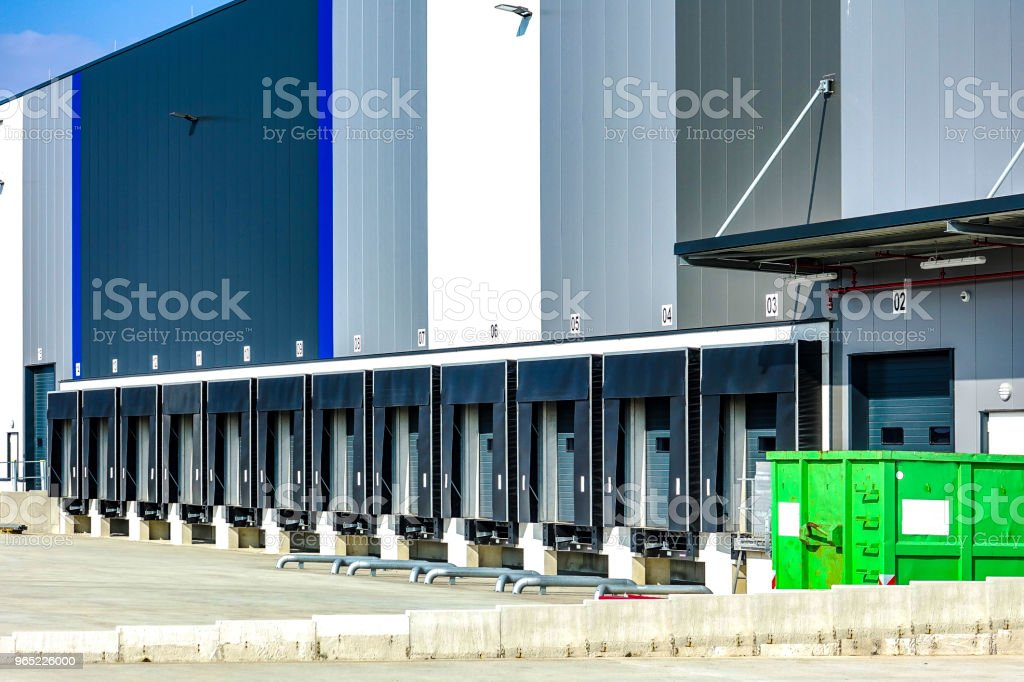 Commercial warehouse with multiple loading bays royalty-free stock photo