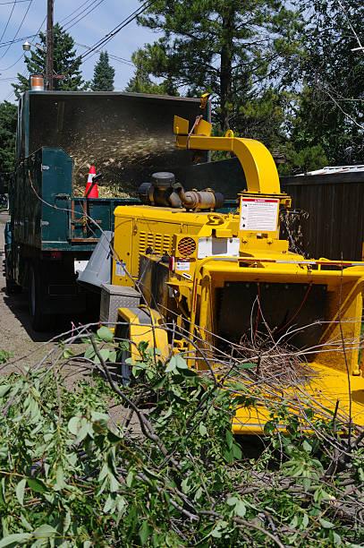 kommerzielle wood chipper - häcksler stock-fotos und bilder