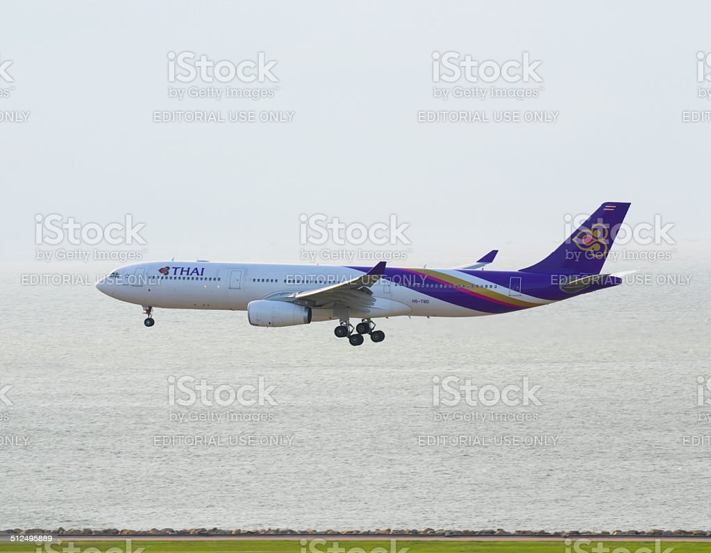 Commerical airplane fly in the sky stock photo