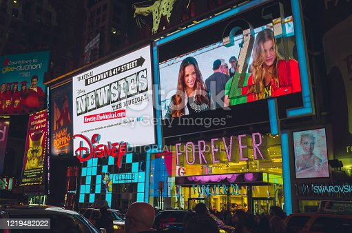 Illuminated commercial billboards at Times Square, Manhattan, New York City, seen at night in May.