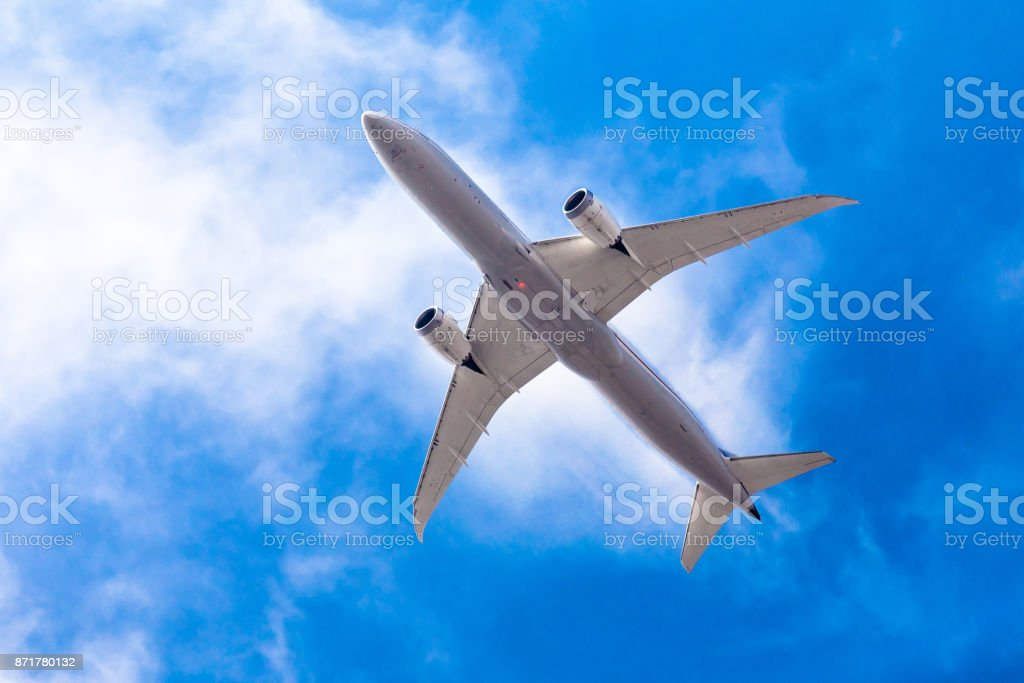 Commericial Aircraft Overhead stock photo