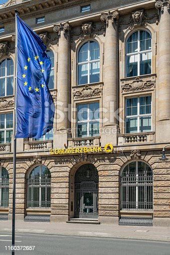 Frankfurt, Germany. July 2019.  A branch of the Commerzbank in the city center