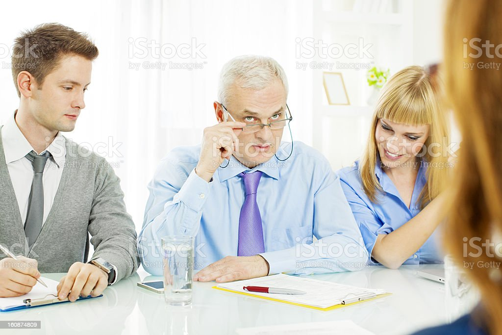 Commission Having Job Interview. royalty-free stock photo