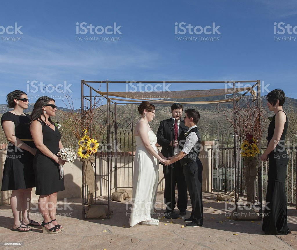 Committed Gay Couple in Ceremony stock photo