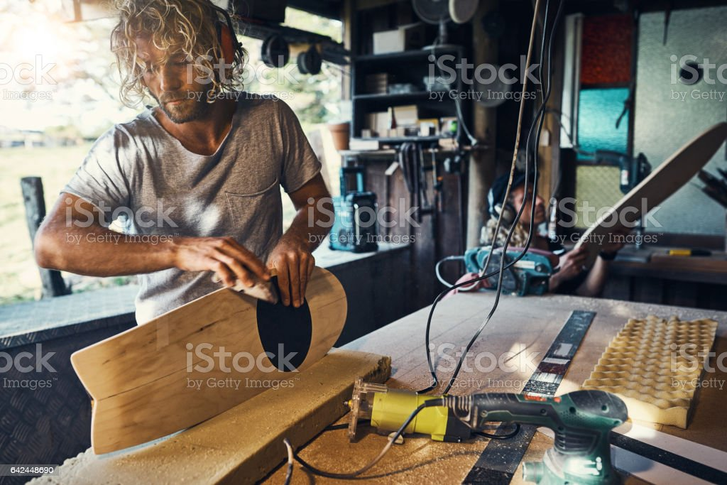 Committed to his craft stock photo