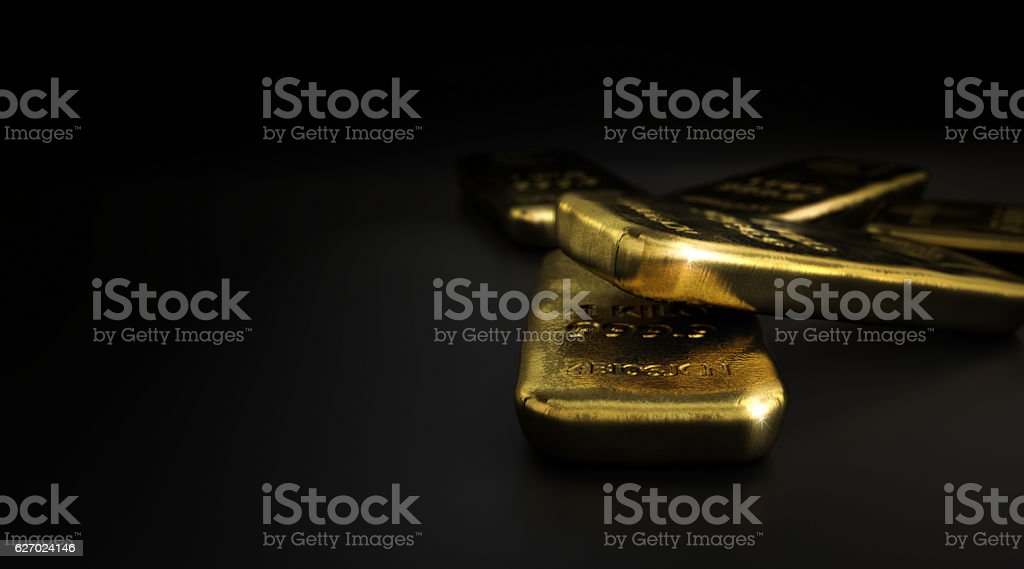 Commodities, Gold Bullion Bars Over Black - Photo
