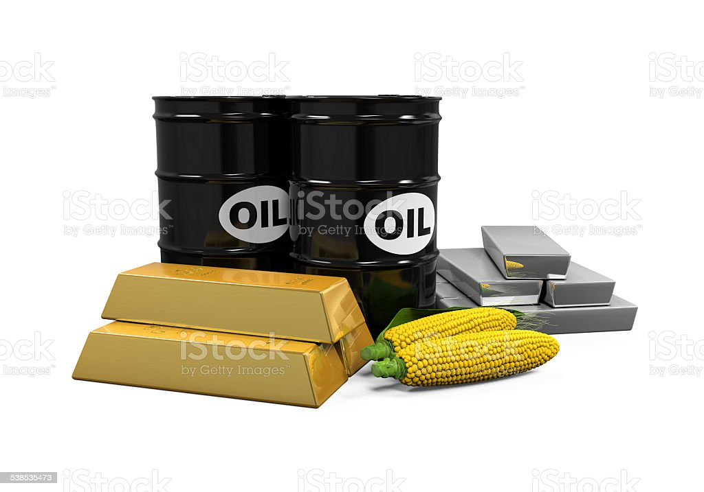 Commodities - Oil, Corn, Gold and Silver stock photo