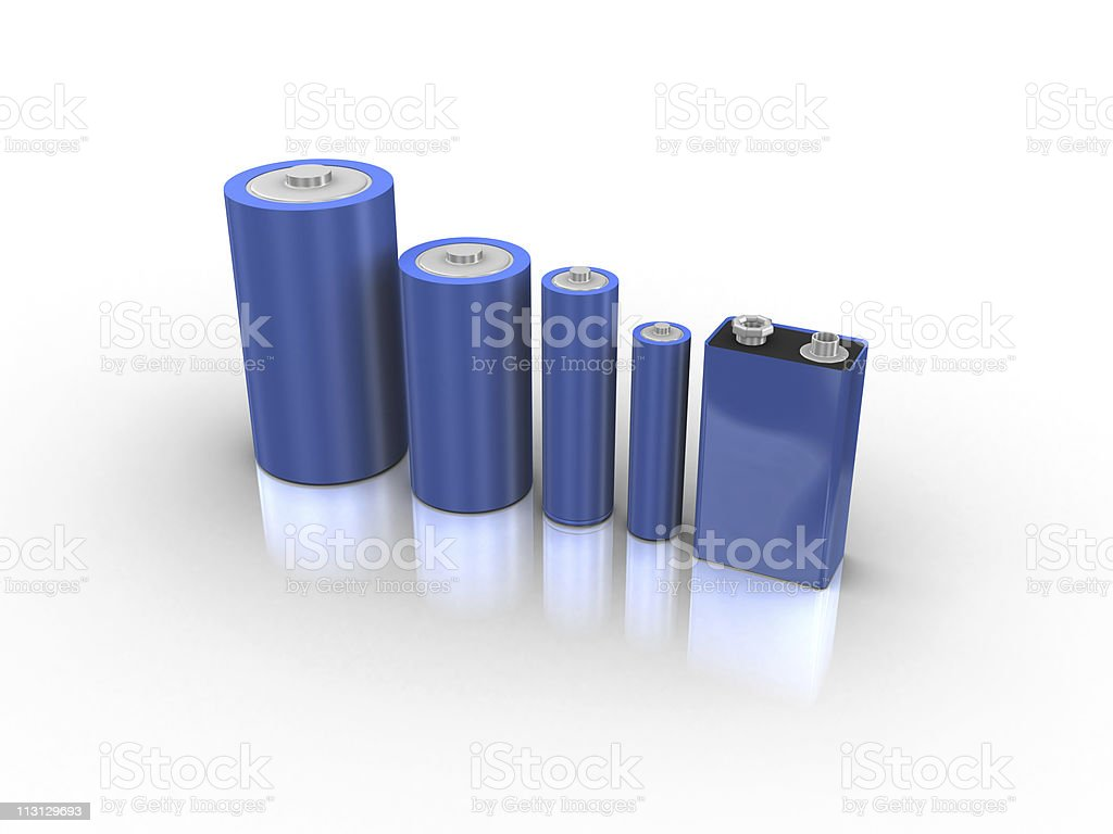 Common Battery Types 3D stock photo
