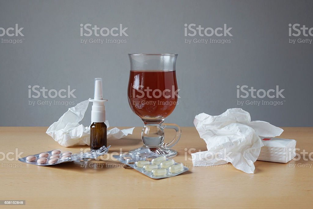 common cold or flu remedies stock photo