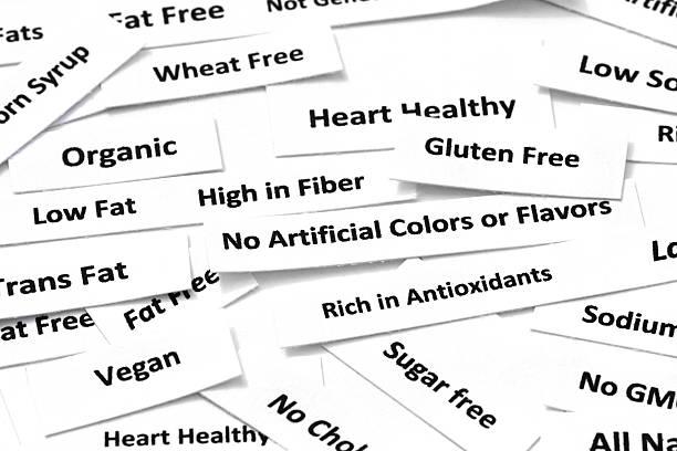 common gesunde ernährung attribute - zuckerfreie lebensmittel stock-fotos und bilder