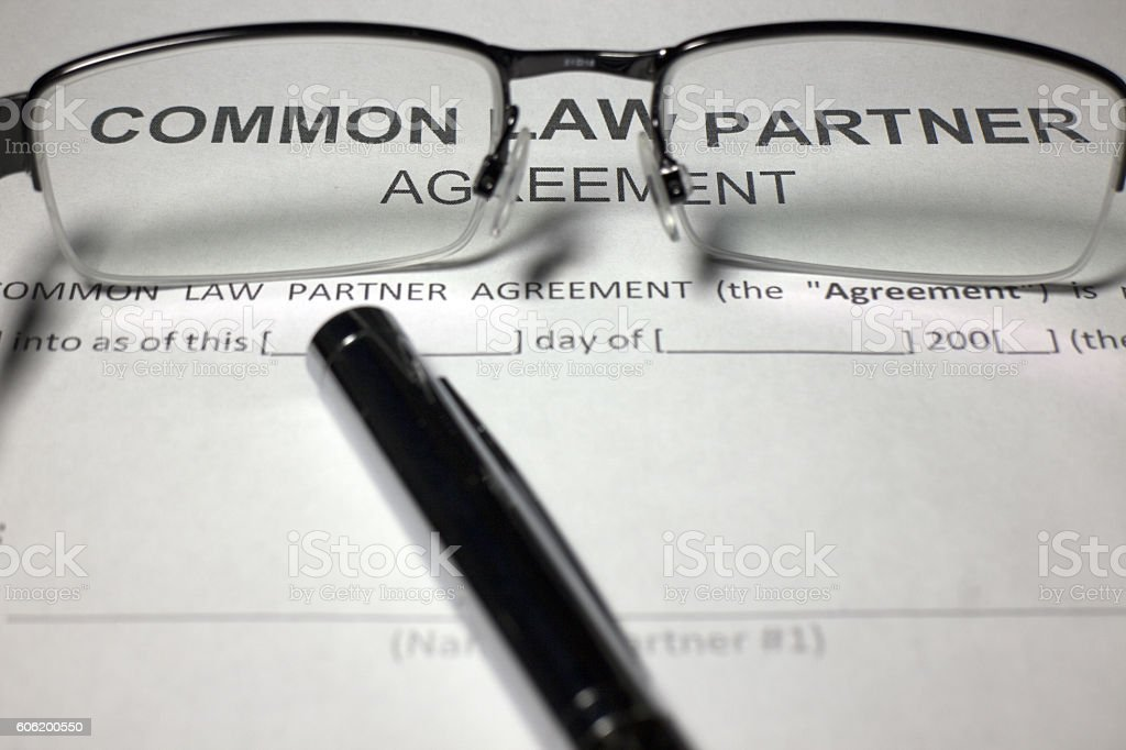 Common Law Agreement Document stock photo