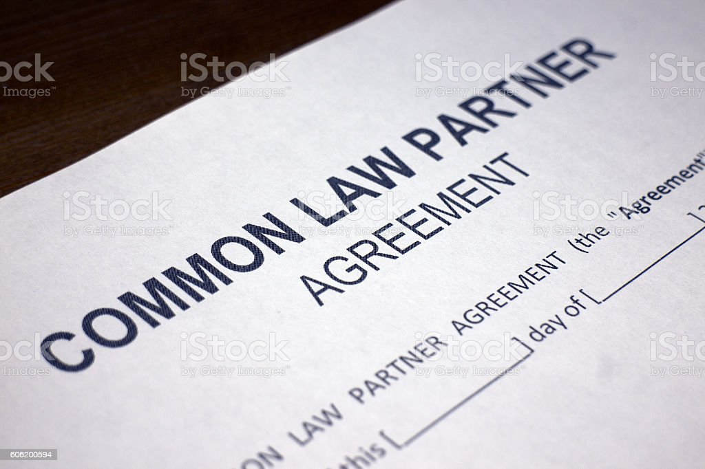 Common Law Agreement Form stock photo