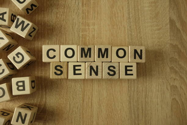 common sense text from wooden blocks - sensory perception stock pictures, royalty-free photos & images