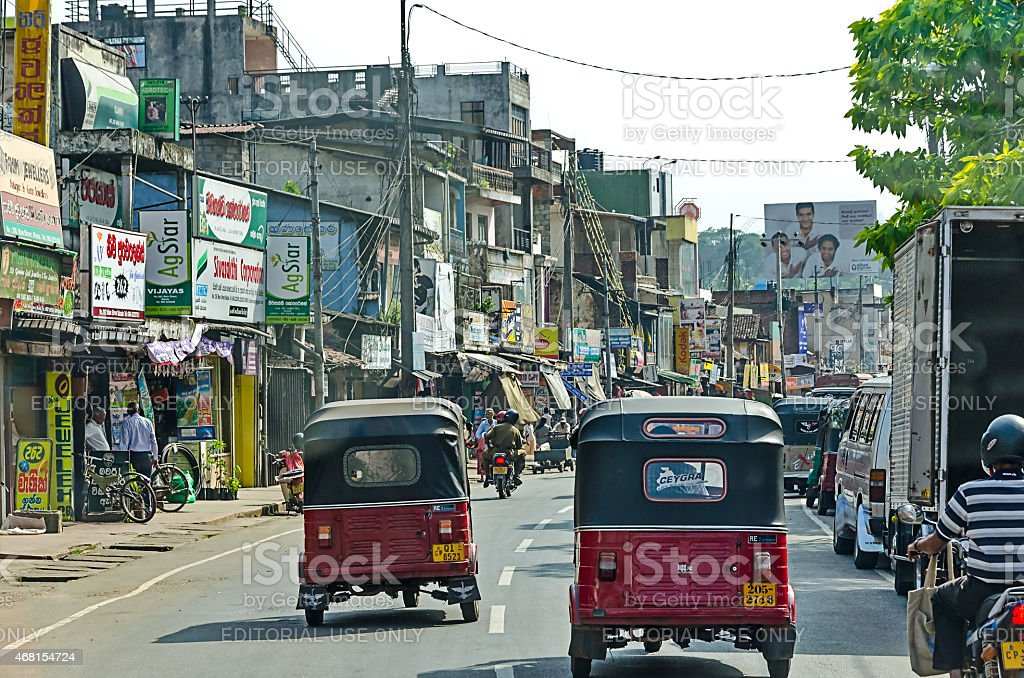 Common Sri Lankian crowded street stock photo