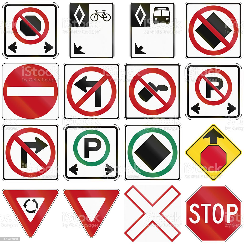 Common Traffic Signs In Canada stock photo