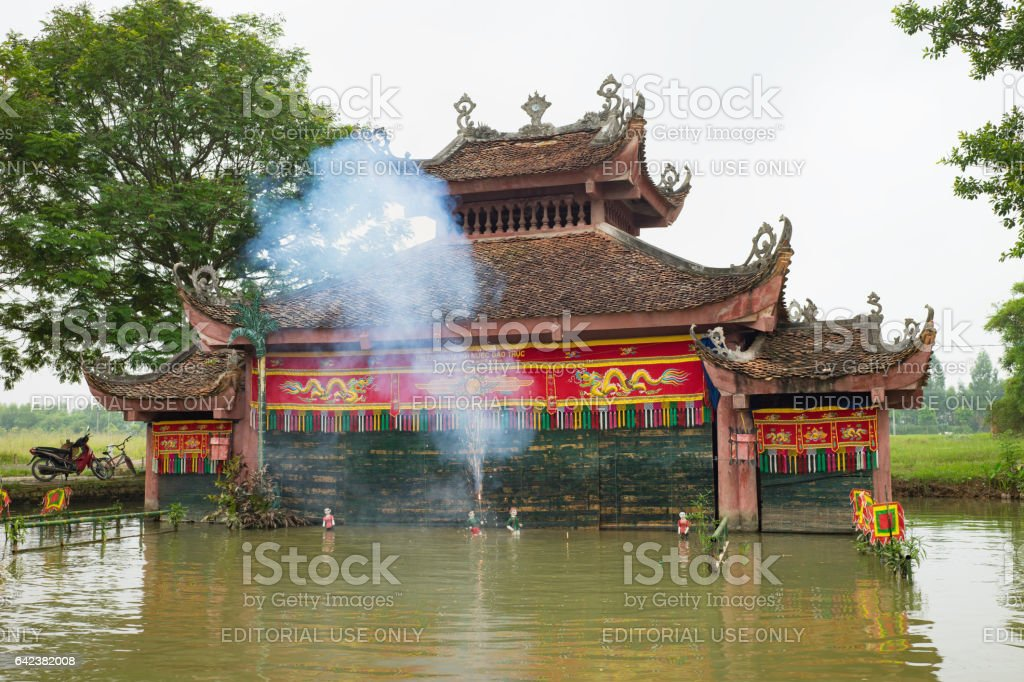 Hanoi, Vietnam - Sep 20, 2015: Common Vietnamese water puppetry state in Dao Thuc village stock photo