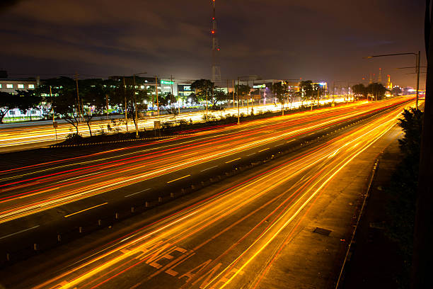 Commonwealth Avenue at Night stock photo