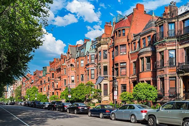 Commonwealth Avenue in Boston Massachusetts USA stock photo