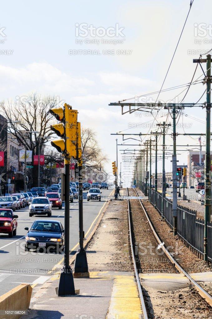 Commonwealth Avenue near Boston University stock photo
