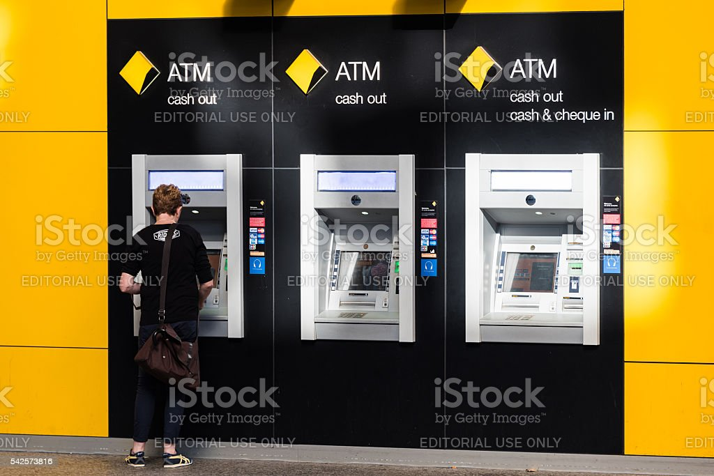Commonwealth Bank ATM on Castlereagh street, Sydney, Australia stock photo
