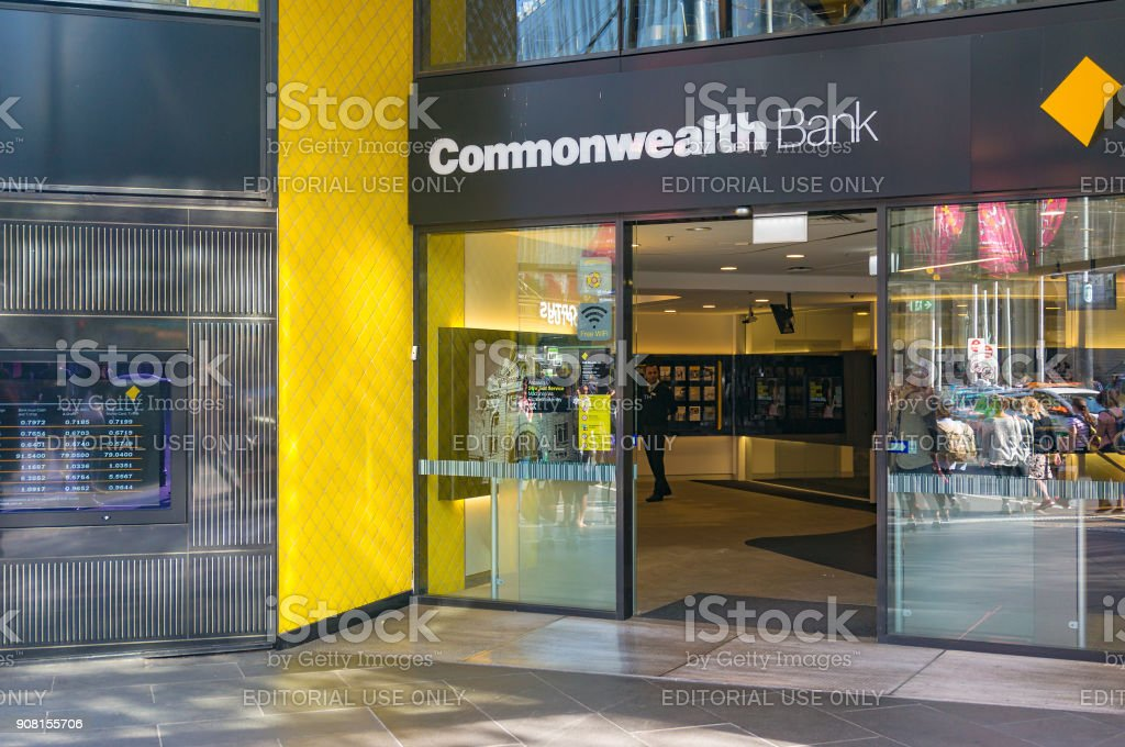 Commonwealth bank branch entrance stock photo