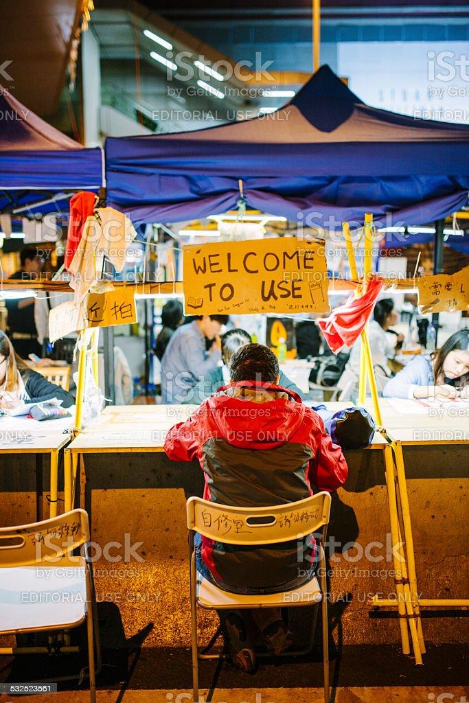 Communal seating area at Occupy Hong Kong, Hong Kong stock photo