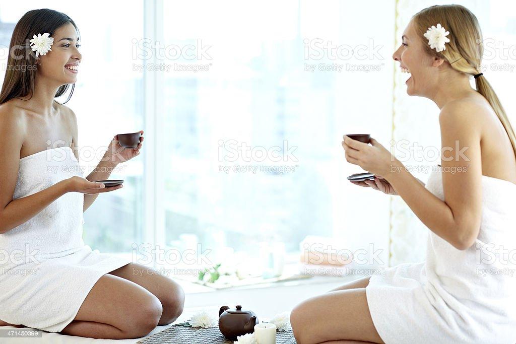 Communicating after sauna stock photo