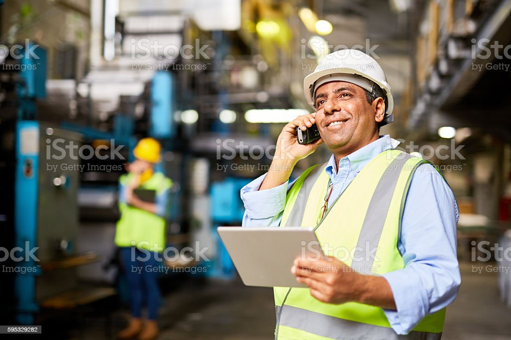 Communicating by radio stock photo