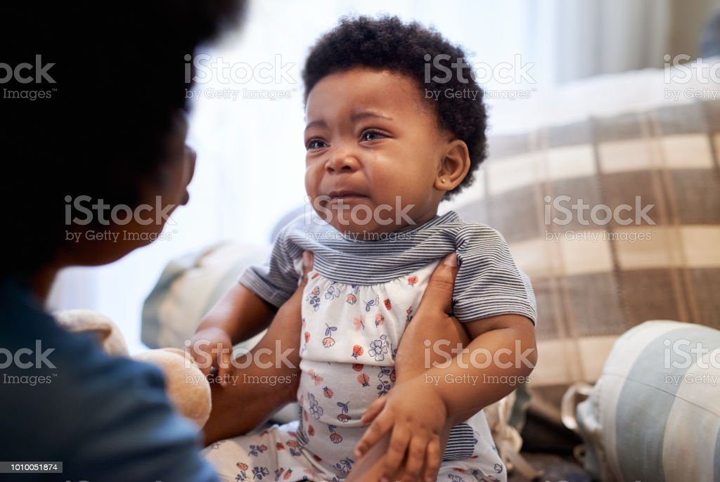 Communicating through tears stock photo