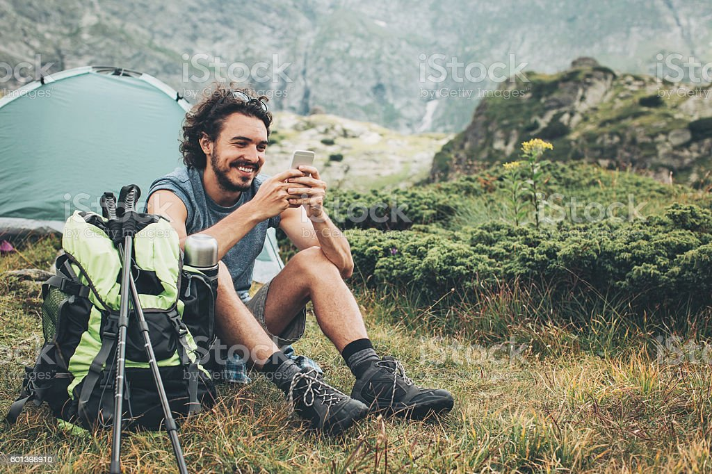 Communication and camping stock photo