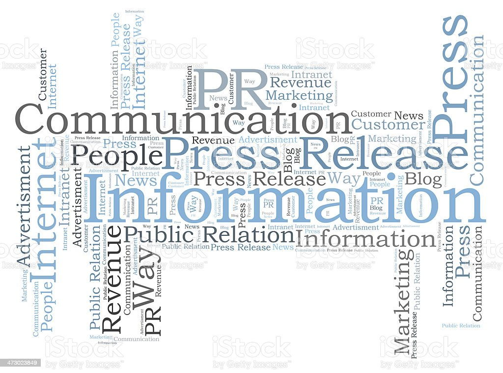 Communication and information word cloud in black and blue stock photo