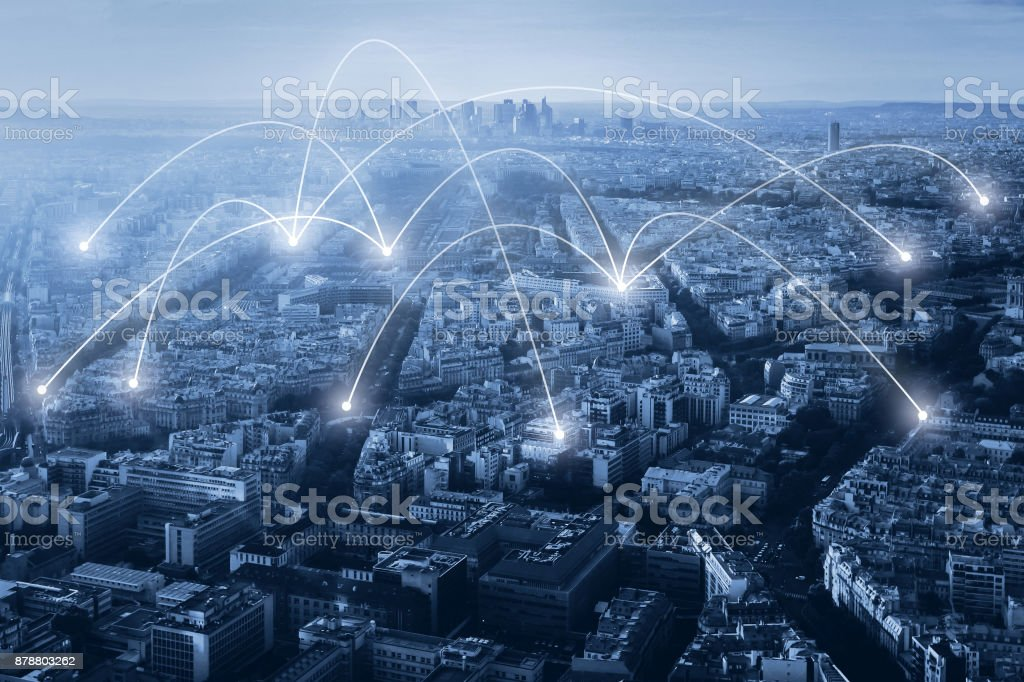 communication and network connection concept stock photo